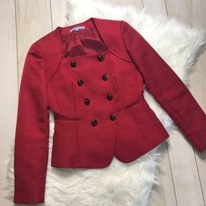 Antonio Melani Red Textured  Career Jacket Blazer